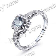 Solid 14K White Gold Aquamarine Gemstone Jewelry Wedding Engagement Ring