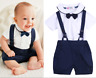 Newborn Baby Boys Toddler Cotton T-shirt Tops+Sling Shorts Pants Outfits Clothes