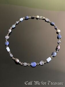 Silpada 925 sterling silver blue stone Pearl choker necklace
