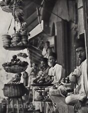 1928 Original INDIA Hyderabad Deccan Market Fruit Bazaar Photo Art By HURLIMANN