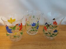 Set of 3 Hurricane Open Candle Holders Hand Painted Flowers, Butterflies and Bug