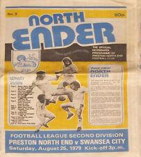 Preston North End V Swansea City 25 de agosto 1979 Fotball programa