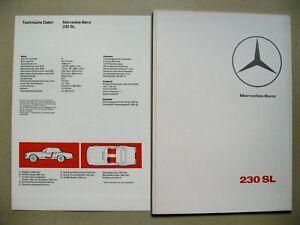 ORIGINAL Luxus Prospekt brochure Mercedes 230 SL Pagode W113 Modell 1965 1966 D