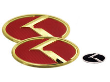 3D K Logo Red Carbon & Gold Edition Emblem 3pc SET (Fits: KIA 2020+ Telluride)