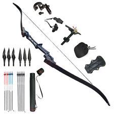 "Archery Recurve Bows Sets Black 57"" Takedown 60LB. Right Handed Men Kits"
