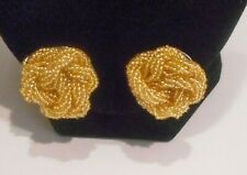 Twisted Knot Design Clip On Earrings Vintage Style, Gold Glass Seed Bead,