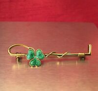 Vintage Sterling Silver Green Enamel Clover Horse Riding Crop Brooch Equestrian.