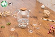 Sans plomb borosilicate verre clair Tea Set théière avec 4 tasses chaudes