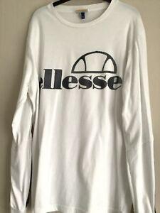 Mens Ellesse Long Sleeved White T-Shirt Size Small