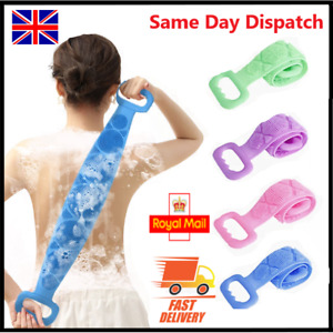 Silicon Long Body Cleaning Double Sided Back Scrubber Bath Shower Belt Brush UK