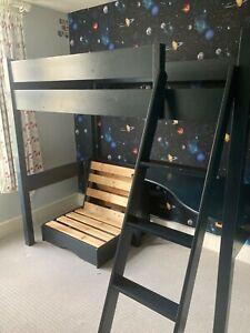 ASPACE Warwick high sleeper with foldaway futon bed, desk, chair & mattress.
