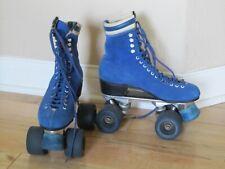 Vintage Sure Grip Blue Suede Roller Skates Blue Wheels and Stops size 6