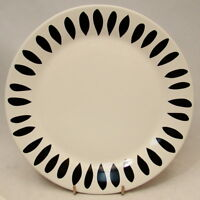"The Cellar Macy's Creamware OPTIC LEAF BLACK Salad Plate 8 3/4"" EXCELLENT"