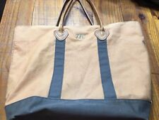LL BEAN Vintage Canvas Tote Bag, Tan Green w Plaid Tartan Lining Leather Handles