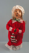 Byers Choice 1985 Christmas Carolers Girl Red Nightgown with Stocking