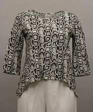 HOT COTTON WOMEN CLOTHING 3/4 SHIRT BLOUSE ANIMAL PRINT BLACK WHITE GRAY XL $74