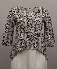 HOT COTTON WOMEN CLOTHING 3/4 SHIRT BLOUSE ANIMAL PRINT BLACK WHITE GRAY XL $74
