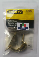 Stanley (81-9081) Polished Brass Robe Hook - New And Sealed