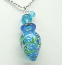 Cremation Urn Necklace Blue Glass Cremation Jewelry Bottle Memorial Keepsake