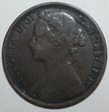 British Penny Coin 1877 KM# 755 Queen Victoria Britain United Kingdom UK One