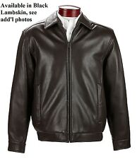 Famous Brand dept store Men's Small 100% lambskin bomber jacket in black, NWT