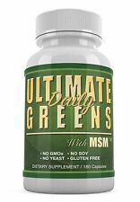 Ultimate Daily Greens MSM 180 caps Supreme Natural Vegetable Dietary Supplement