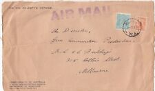 Stamp Australia 1/4 turquoise KGV C of A watermark uprated cover front airmail