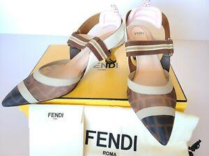 New Auth. FENDI Colibri FF Slingback Pumps Sandals Eur 39/ US 9