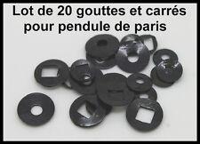 x20 gouttes et carrés en acier noir pour pendule, horloge