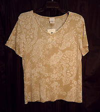 WOW~SOFT SLINKY STRETCHY KNIT PAISLEY FLORAL TRAVEL TUNIC TOP BLOUSE~XXL~0X~NEW