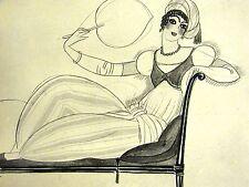 Thevenaz ADELAIDE CREOLE BEAUTY on LOUNGE w FAN 1922 Art Deco Print Matted