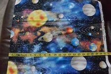 Planets Solar System Allover Cotton Flannel Fabric BTY