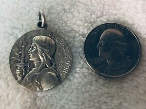 Large Antique French Silver Plated Joan of Arc Religious Medal  / Pope Pius X