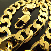Necklace Chain Real 18k Yellow G/F Gold Solid Mens Heavy Curb Cuban Design 22""