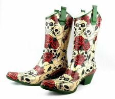 Corkys Cowgirl  Rain Boots Womens Size 6 Skulls Red Roses