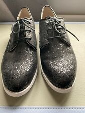 Topshop black glitter lace up shoes - New