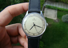 Vintage Omega Steel Watch 1940's Ref 2324/8 Two Tone Bicolor Dial Serviced