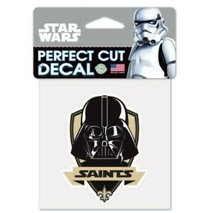 """NEW ORLEANS SAINTS STAR WARS DARTH VADER PERFECT CUT DECAL 4""""X4"""" FOR WINDOWS"""