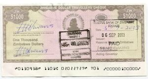 Zimbabwe Dollar Travelers Check $1 000 Check 2003 P15 $1000 - Rare Version 2