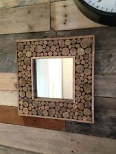 FANTASTIC SQUARE SHERWOOD OAK TREE KNOT WOOD MIRROR RUSTIC UNIQUE DESIGNER DRIFT