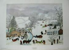 """Grandma Moses """"A Frosty Day"""" Art Print  1951 20"""" x 14"""" Free Shipping"""