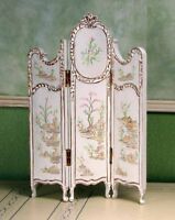 """White Folding Screen MUSEUM QUALITY DOLLHOUSE FURNITURE 1:12 or 1"""" Scale BESPAQ"""