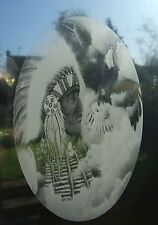 """Etched glass look RED INDIAN window decoration 15x23"""" / 38x58cm"""