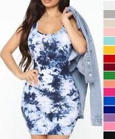 S M L Women's Tie Dye Tank Dress Casual Summer Soft Cotton Knit Sleeveless Mini