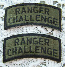 NEW ~ US ARMY RANGER CHALLENGE TAB PATCHES (PAIR) SUBDUED ~ FREE SHIPPING! ~ NEW