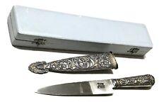 Vintage Antique Luca Argentina 800 Silver Gold Gaucho Dagger Knife Scabbard Case