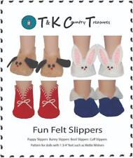 "Pattern for felt slippers for 14.5"" Wellie Wishers or Glitter Girls doll clothes"