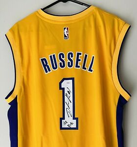 """D'Angelo Russell Signed """"#2 Pick"""" Lakers Autographed Adidas NBA Jersey JSA COA"""