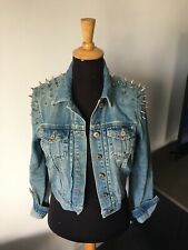 Topshop Moto Studded Spiked Denim Jacket Size 10 Immaculate Condition