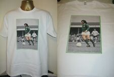 GEORGE BEST- NORTHERN IRELAND- 1970's ACTION  ART PRINT T SHIRT- WHITE -X LARGE